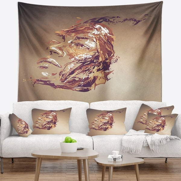 Designart 'Chocolate Portrait of Woman' Abstract Portrait Wall Tapestry