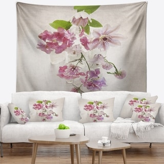 Designart 'Vintage Pink Flowers' Floral Painting Wall Tapestry