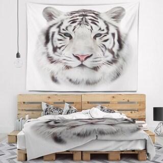 Designart 'White Bengal Tiger' Animal Wall Tapestry