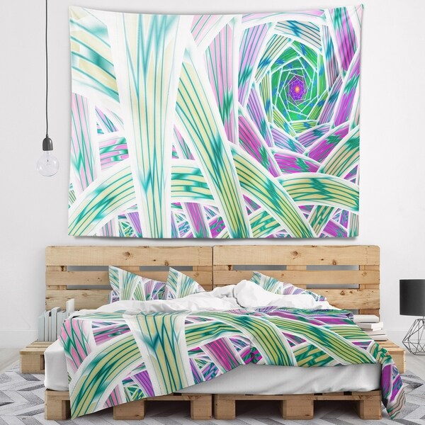 Designart 'Purple Fractal Endless Tunnel' Abstract Wall Tapestry