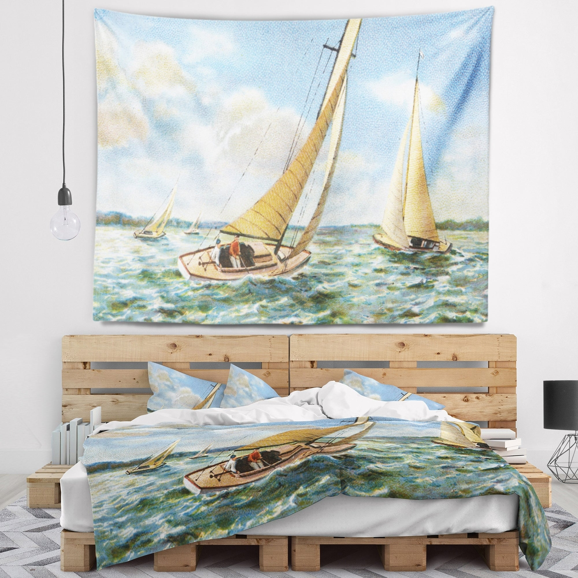 sailing beach ship marine wall hanging tapestry beautiful wall decor