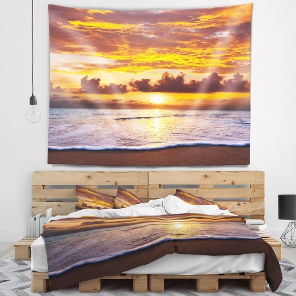 Designart 'Layers of Yellow Clouds at Sunset' Seascape Wall Tapestry