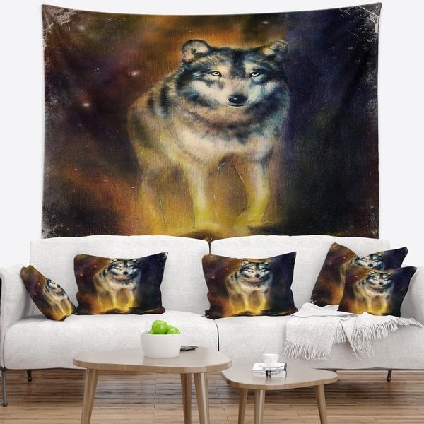 Designart 'Calm Wolf Illustration' Animal Wall Tapestry