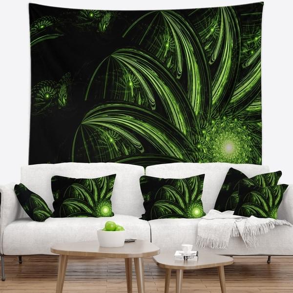 Designart 'Strange Green Flower' Floral Wall Tapestry