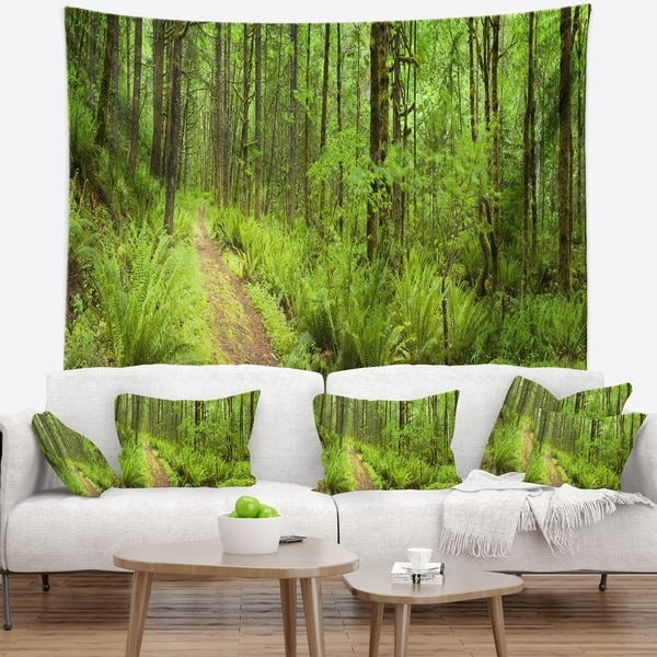 Designart 'Lush Forest Path Columbia River' Forest Wall Tapestry -  Design Art