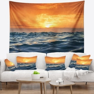 Designart 'Blue Waves Dancing at Yellow Sunset' Beach Photo Wall Tapestry