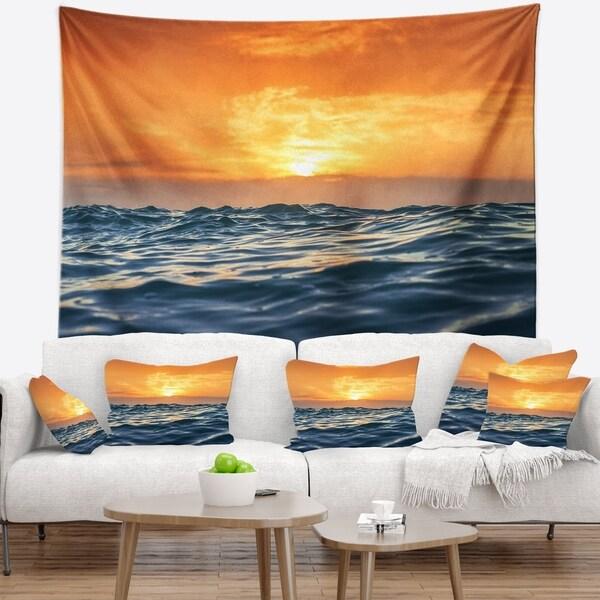Designart 'Blue Waves Dancing at Yellow Sunset' Beach Photo Wall Tapestry