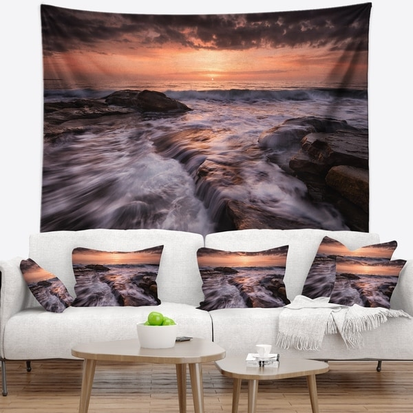Designart 'Exotic Flow of Waters over Rocks' Seashore Wall Tapestry