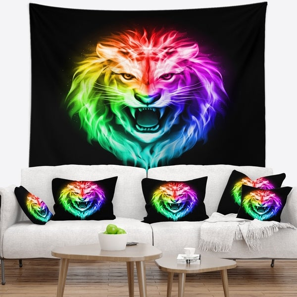 Designart 'Colorful Fire Lion' Animal Wall Tapestry