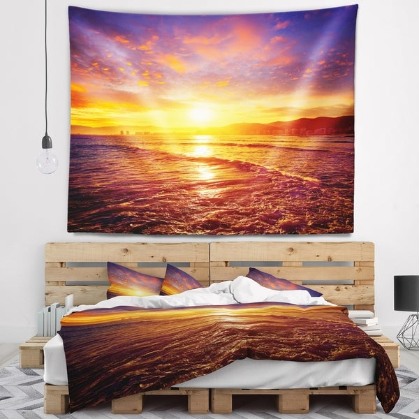 Designart 'Cullera Playa Los Olivos Beach' Modern Beach Wall Tapestry