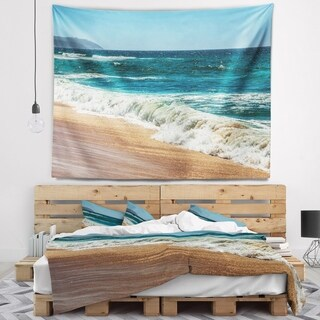 Designart 'Ideal Blue Atlantic Beach in Summertime' Seashore Wall Tapestry