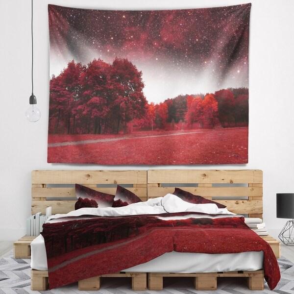 Designart 'Mystical Red Spring Night' Landscape Wall Tapestry