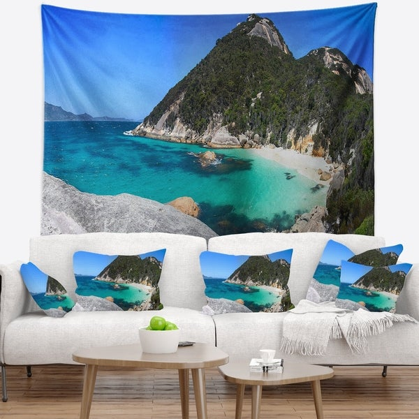 Designart 'Small Hidden Bay Panorama' Landscape Wall Tapestry