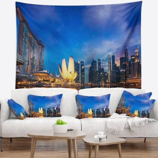 Designart 'Landscape of Singapore Cityscape' Photography Wall Tapestry