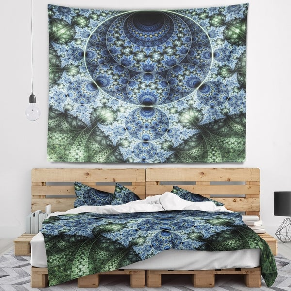 Designart 'Blue and Green Spiral Fractal Art' Abstract Wall Tapestry