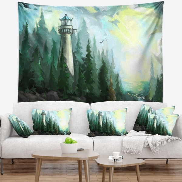 Designart 'Landscape with River and Trees' Modern Painting Wall Tapestry