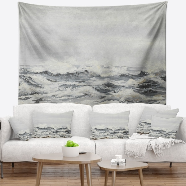 Designart 'Grey Sea Waves' Seascape Wall Tapestry