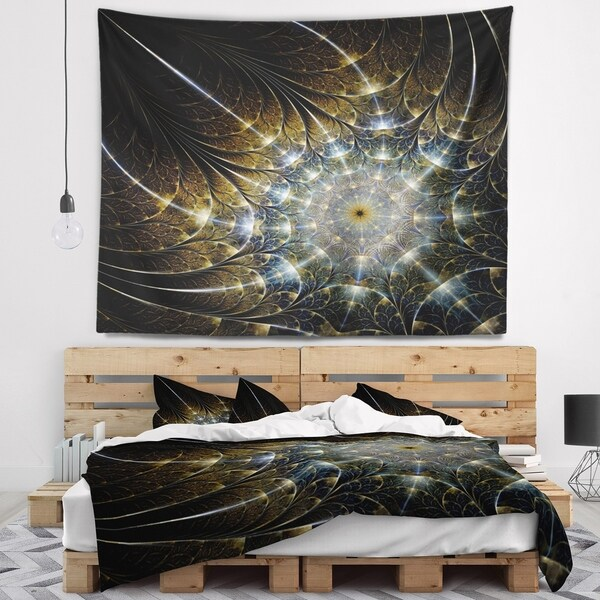 Designart 'Symmetrical Brown Fractal Flower' Abstract Wall Tapestry