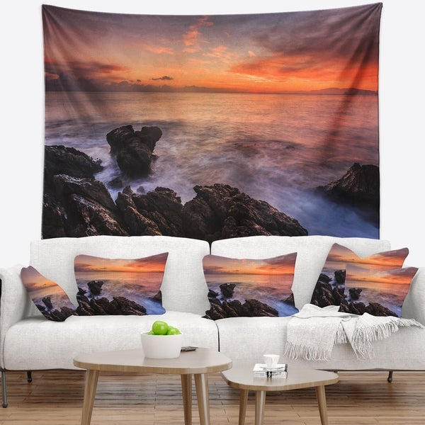 Designart 'Sunrise over the Coast of Sicily' Beach Photo Wall Tapestry