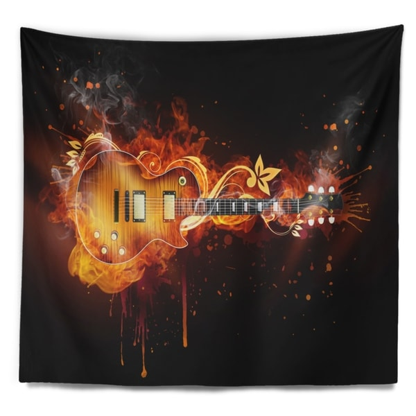 Psychedelic Music Wall Tapestry For Bedroom Hippie Watercolor Guitar Hanging Man