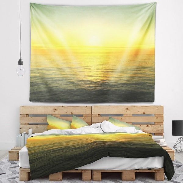 Designart 'Brilliant Yellow Sunrise over Waters' Beach Photo Wall Tapestry
