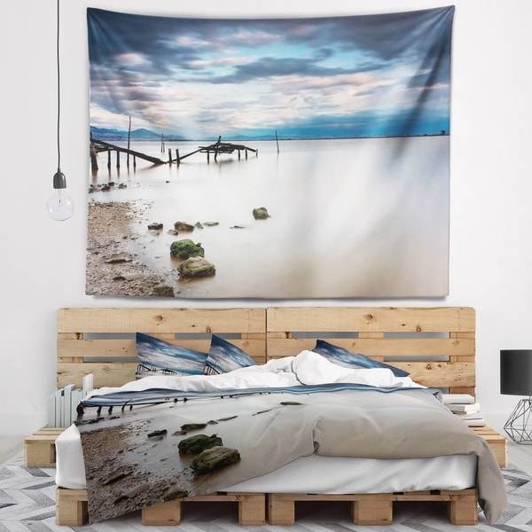 Designart 'Magic Sunrise with Old Wooden Pier' Pier Seascape Wall Tapestry