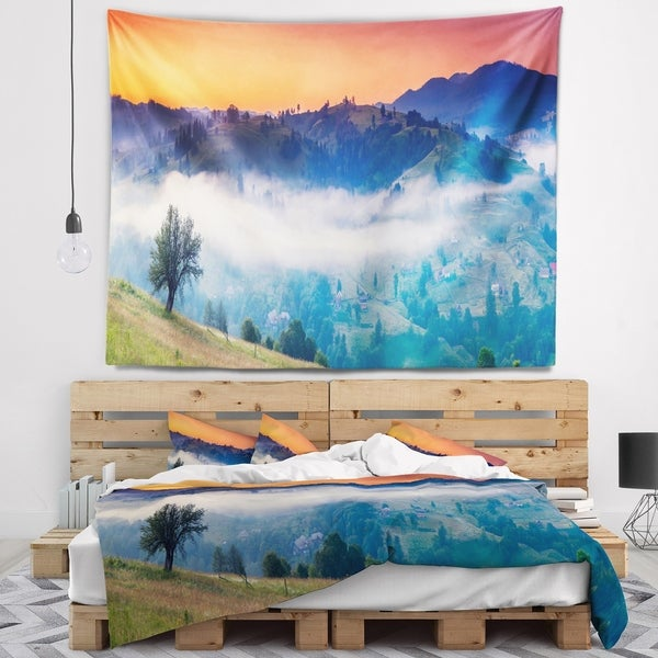 Designart 'Fantastic Blue Mountains Panorama' Landscape Wall Tapestry