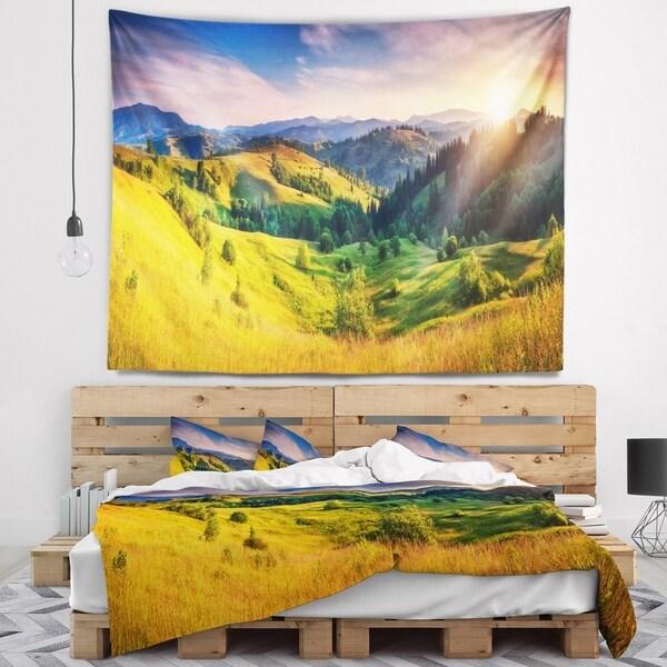 Designart 'Green Hills Glowing by Sunlight' Landscape Wall Tapestry
