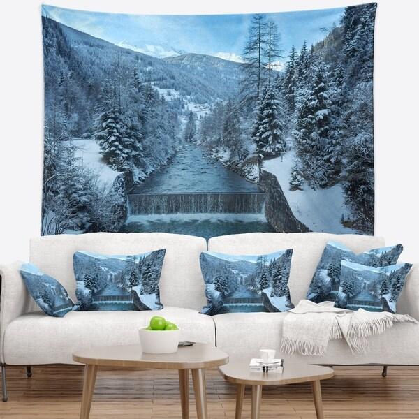 Designart 'Winter Mountain Stream' Landscape Photography Wall Tapestry