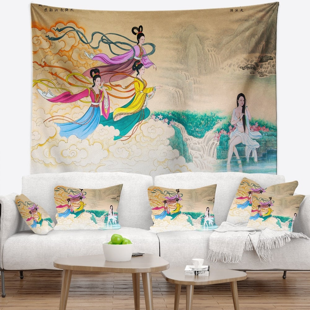 Designart Classical Chinese Painting Abstract Wall Tapestry 92 In X 78 In Shefinds
