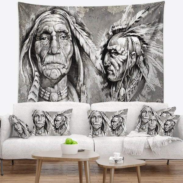 Designart X27 Native American Indian Heads Abstract Portrait