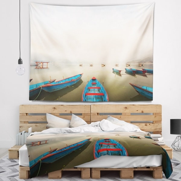 Designart 'Moving Boats in Mountain Lake' Boat Wall Tapestry