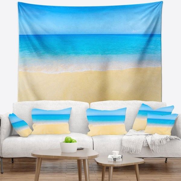 Designart 'Calm Blue Sea and Sky' Seascape Wall Tapestry