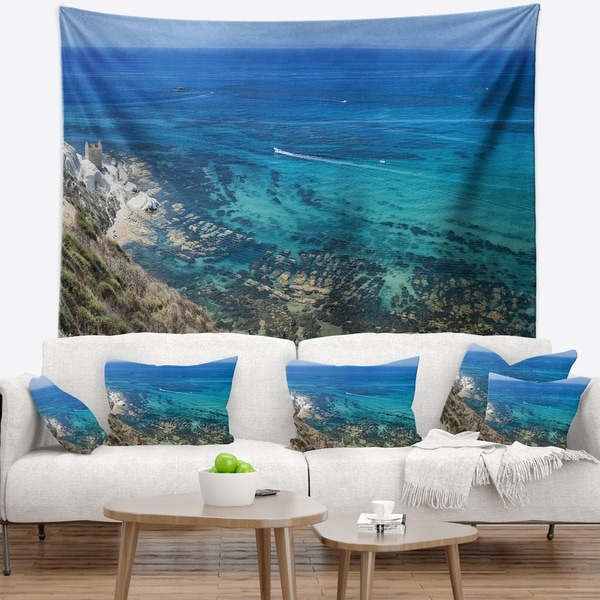 Designart 'White Tip Agrigento in Sicily Italy' Landscape Wall Tapestry