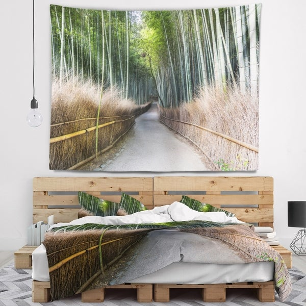 Designart 'Straight Path in Bamboo Forest' Forest Wall Tapestry