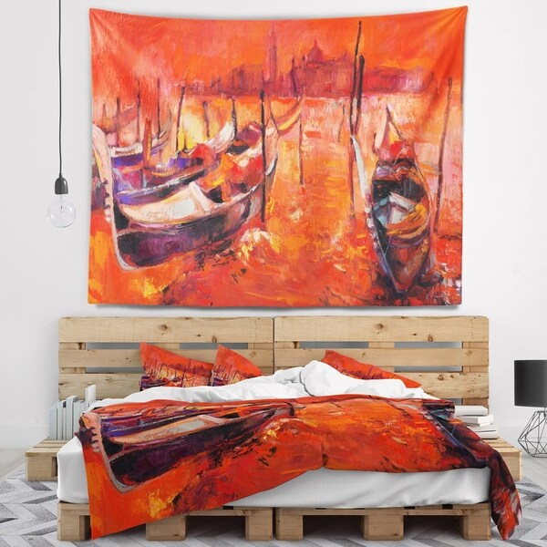 Designart 'Red Sunset over Venice' Landscape Painting Wall Tapestry