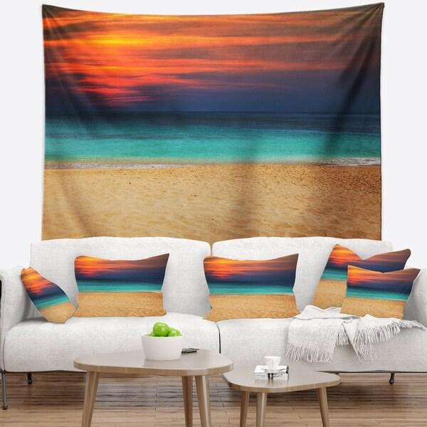 Designart 'Sand to Sky Colorful Seashore' Modern Beach Wall Tapestry