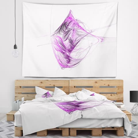 Designart 'Purple on White Fractal Illustration' Abstract Wall Tapestry