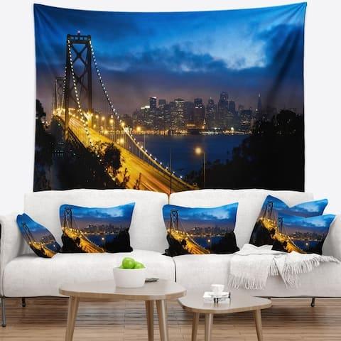 Designart 'Bay Bridge San Francisco' Cityscape Photo Wall Tapestry