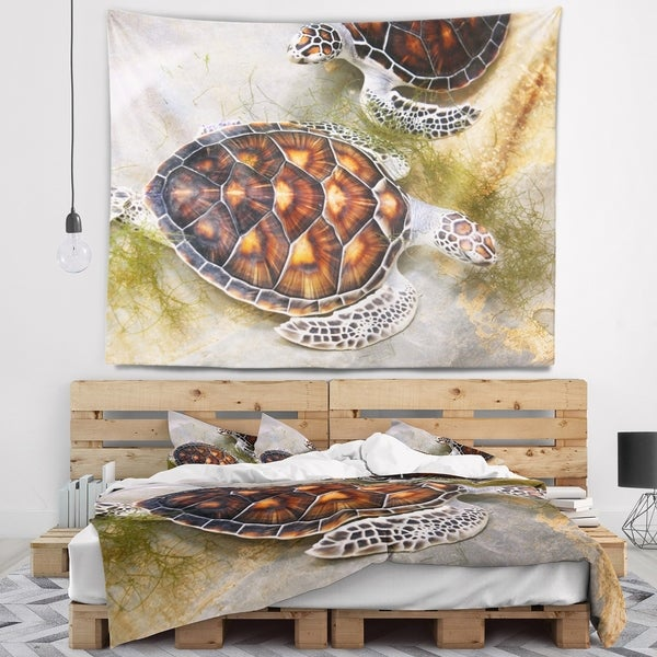 Designart 'Sea Turtles in Nursery' Animal Wall Tapestry