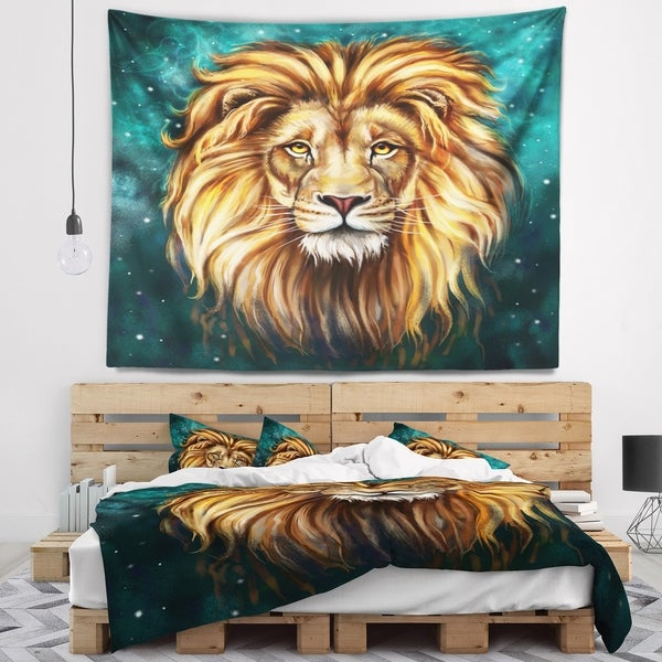 Designart 'Lion Head in Blue' Animal Wall Tapestry