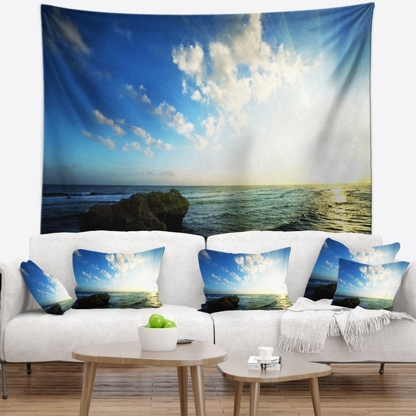 Designart 'Evening Sea with Calm Waters' Modern Beach Wall Tapestry