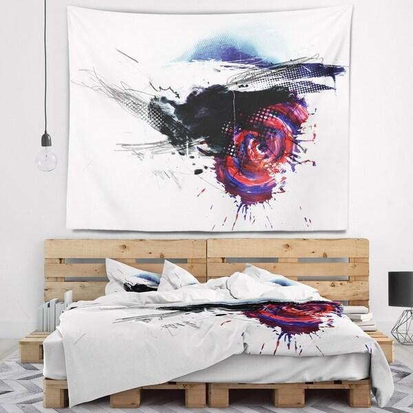 Designart 'Dark Blue Abstract Splashes' Abstract Wall Tapestry
