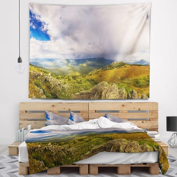 Designart 'Stormy Sky with Clouds Panorama' Landscape Wall Tapestry