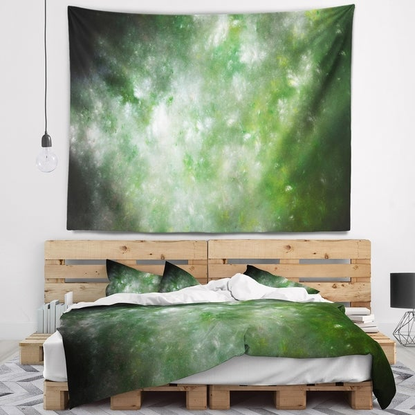 Designart 'Blur Green Starry Fractal Sky' Abstract Wall Tapestry