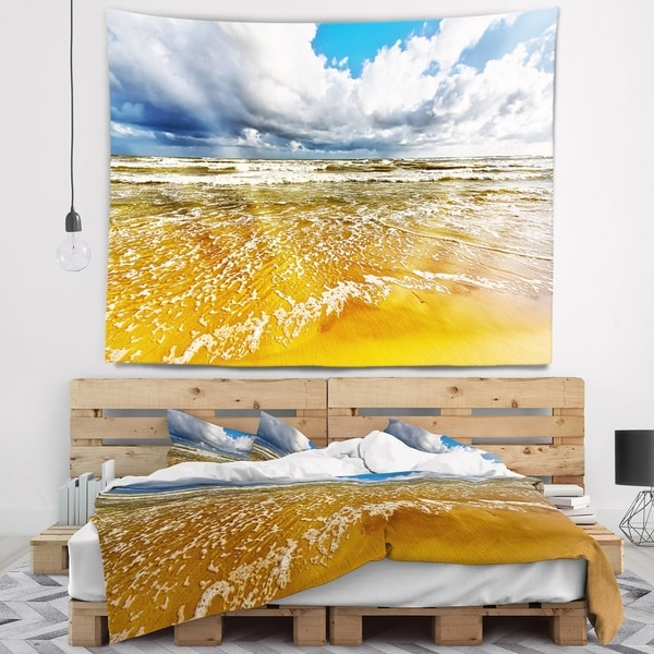 Designart 'Stormy Summer Sea with White Clouds' Seascape Wall Tapestry