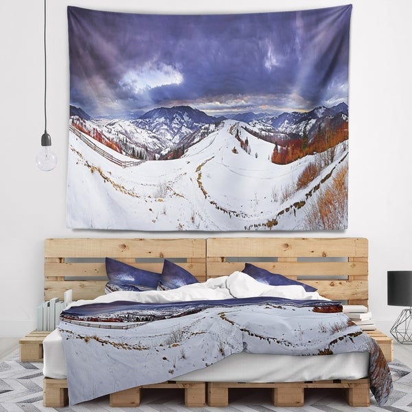 Designart 'Frosty Day in Mountains Panorama' Landscape Wall Tapestry