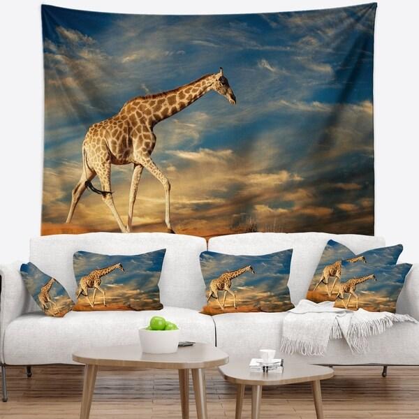 Designart 'Giraffe on Sand Dune' Animal Wall Tapestry
