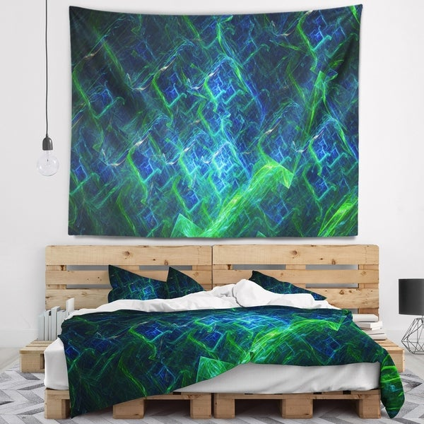 Designart 'Green Blue Electric Lightning' Abstract Wall Tapestry