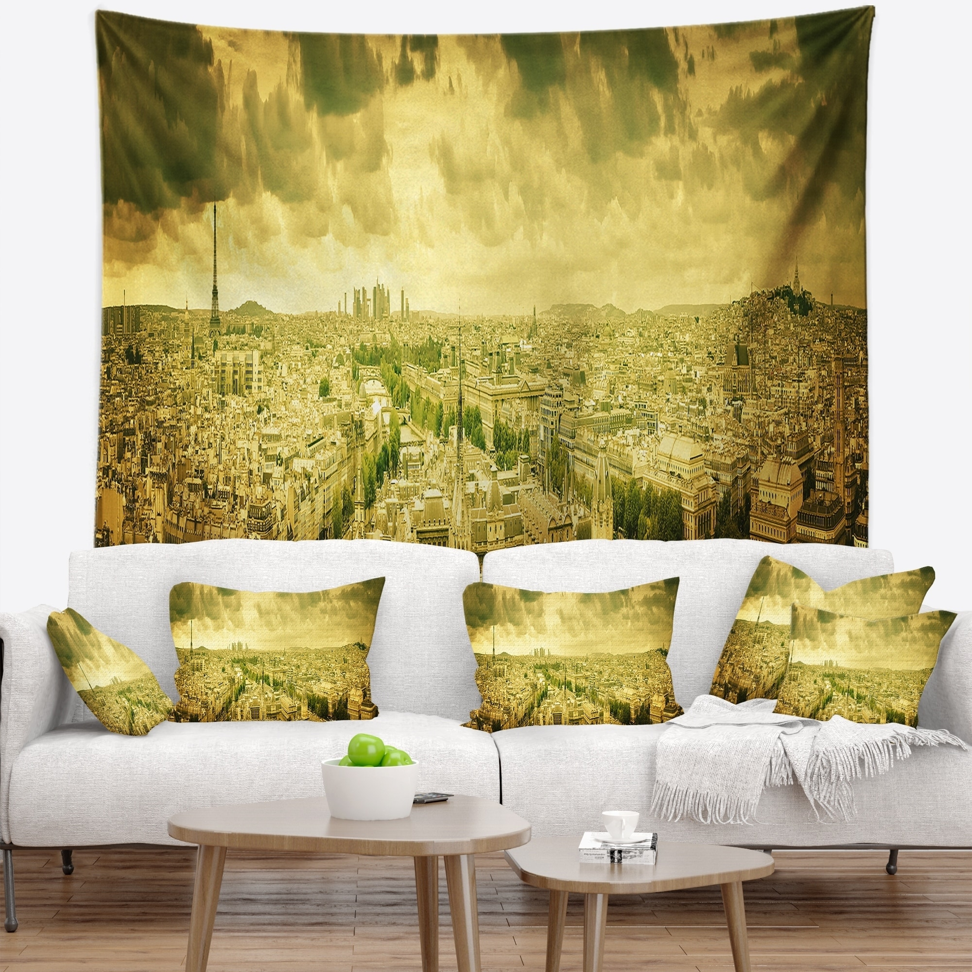 Designart Paris Panorama With Scenic Sky Skyline Photography Wall Tapestry On Sale Overstock 20922000
